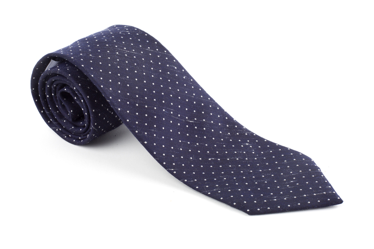 Silk Textured Pindot - Navy Blue/White