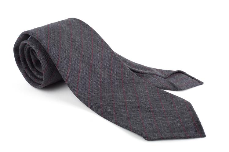 Regimental Light Wool Untipped Tie - Dark Grey/Burgundy