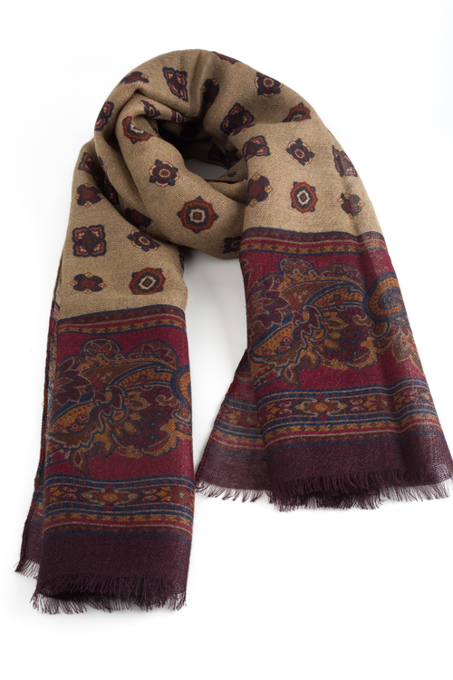 Medallion Printed Wool Scarf - Beige/Burgundy