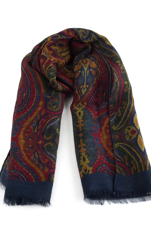 Aiuola Printed Wool Scarf - Burgundy/Navy Blue/Green