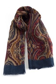 Aiuola Printed Wool Scarf - Beige/Burgundy/Navy Blue