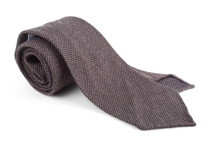 Solid Wool Shantung Grenadine Tie - Untipped - Brown