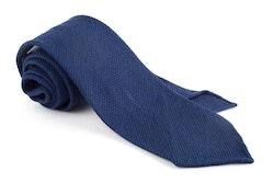 Solid Wool Shantung Grenadine Tie - Untipped - Light Navy Blue