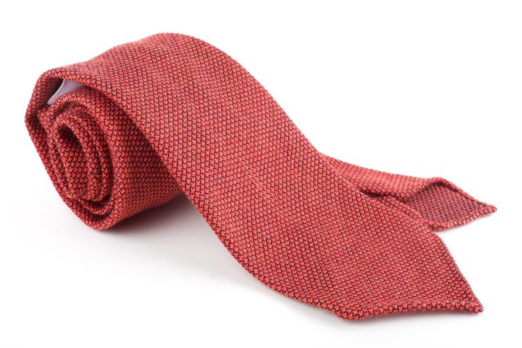 Solid Wool Shantung Grenadine Tie - Untipped - Orange