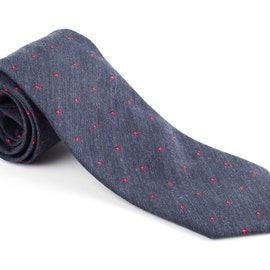 Silk/Cotton Floral - Navy Blue/Burgundy