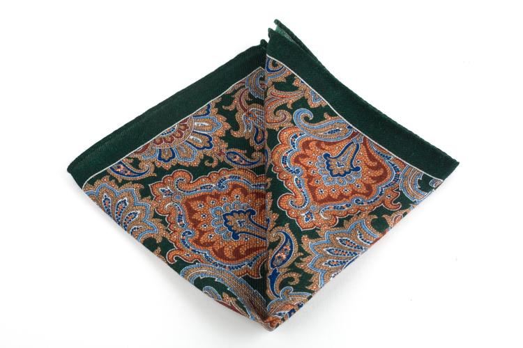 Wool Paisley - Green/Rust//Beige/Light Blue/Navy Blue
