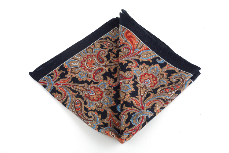 Wool Paisley - Navy Blue/Beige/Burgundy/Light Blue/Brown