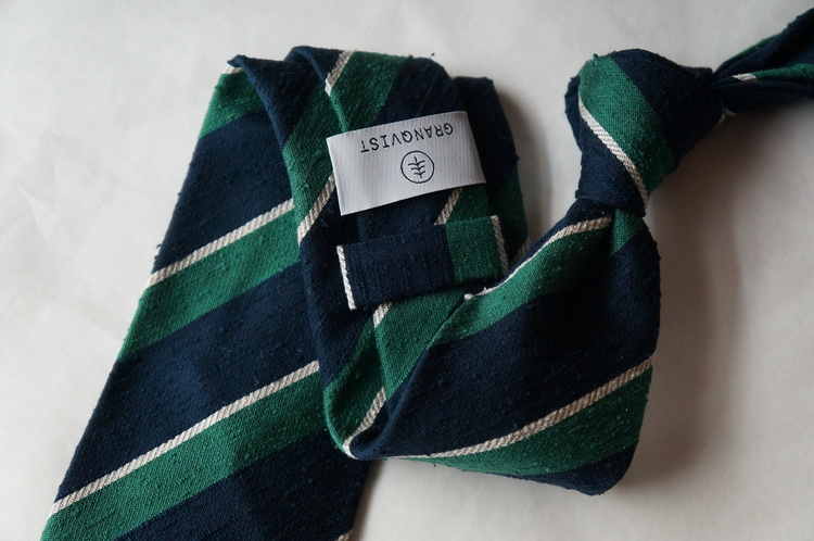 Regimental Shantung Tie - Untipped - Green/Navy Blue/White