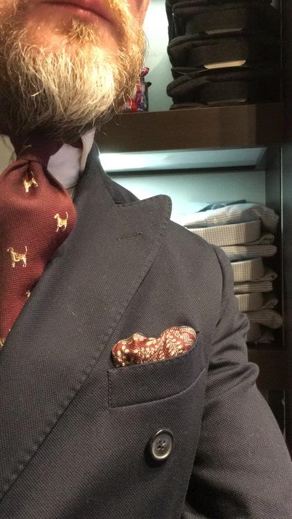 Cotton/Silk Animali Tie - Burgundy