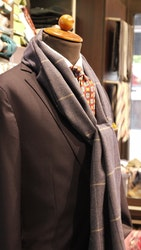 Check Wool Scarf - Mid Blue/Navy Blue/Grey