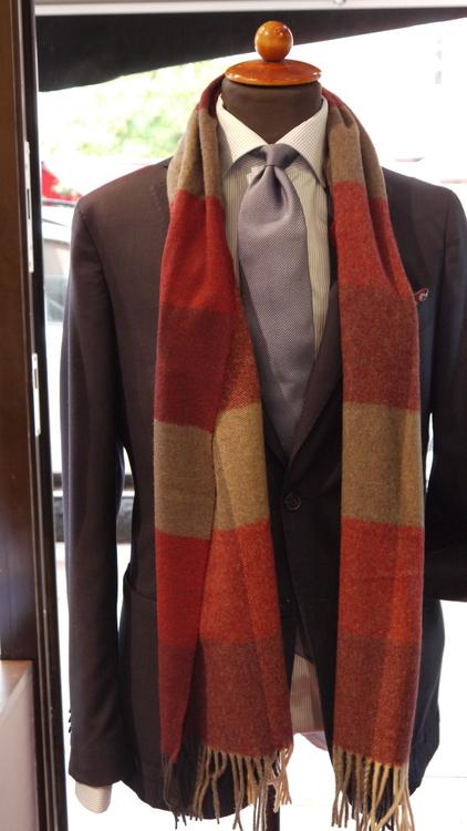 Plaid Wool Scarf - Burgundy/Grey