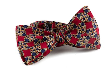 Oval Vintage Silk Bow Tie - Burgundy/Yellow/Navy Blue