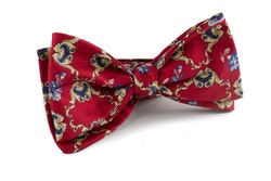 Medallion Vintage Silk Bow Tie - Burgundy/Yellow/Navy Blue