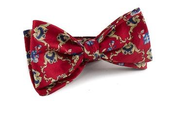Medallion Vintage Silk Bow Tie - Burgundy/Yellow/Navy Blue