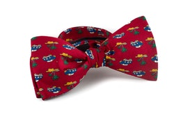 Auto Vintage Silk Bow Tie - Burgundy/Yellow/Navy Blue/Green