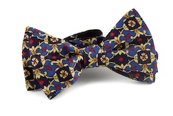 Medallion Vintage Silk Bow Tie - Navy Blue/Yellow/Light Blue/Red
