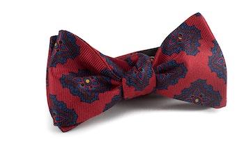 Medallion Vintage Silk Bow Tie - Red/Navy Blue