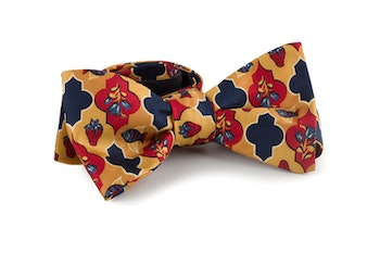 Floral Vintage Silk Bow Tie - Yellow/Navy Blue/Rust/Red