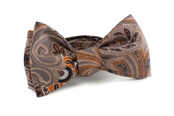 Paisley Vintage Silk Bow Tie - Rust/Grey