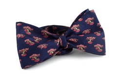 Fungo Vintage Silk Bow Tie - Navy Blue/Pink