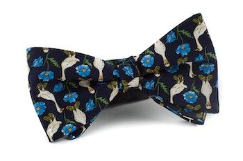 Maarten Goose Vintage Silk Bow Tie - Navy Blue/Light Blue/White/Green