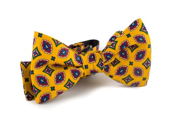 Medallion Vintage Silk Bow Tie - Yellow/Blue/Green/Red/White