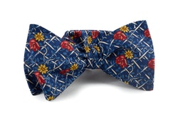 Floral Vintage Silk Bow Tie - Navy Blue/Light Blue/Red/Yellow