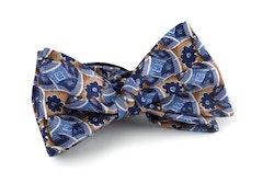 Floral Vintage Silk Bow Tie - Light Blue/Beige/Navy Blue