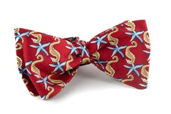 Stella Di Mare Vintage Silk Bow Tie - Red/Beige/Light Blue