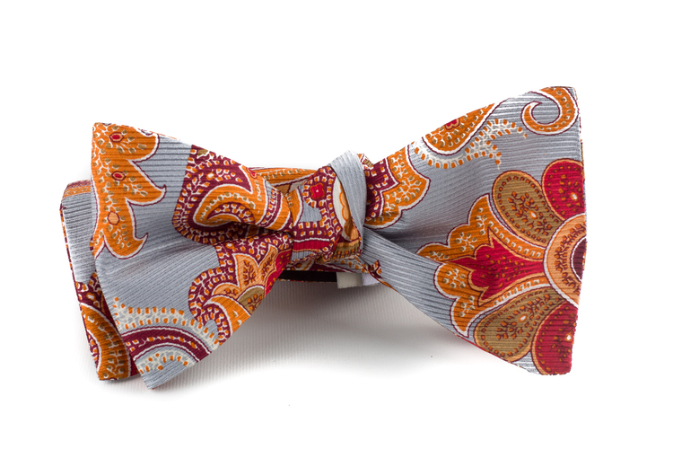 Self tie Silk Vintage Paisley - Grey/Orange/Red