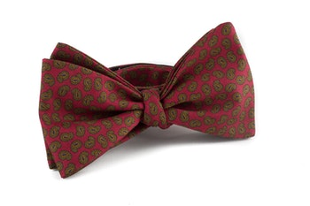 Paisley Vintage Silk Bow Tie - Red/Green