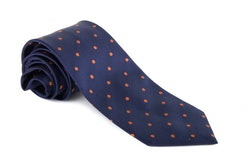 Silk Polka Dot - Navy Blue/Orange