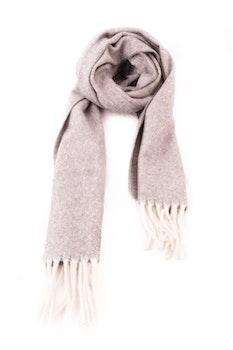 Herringbone Lambswool Scarf - Light Grey