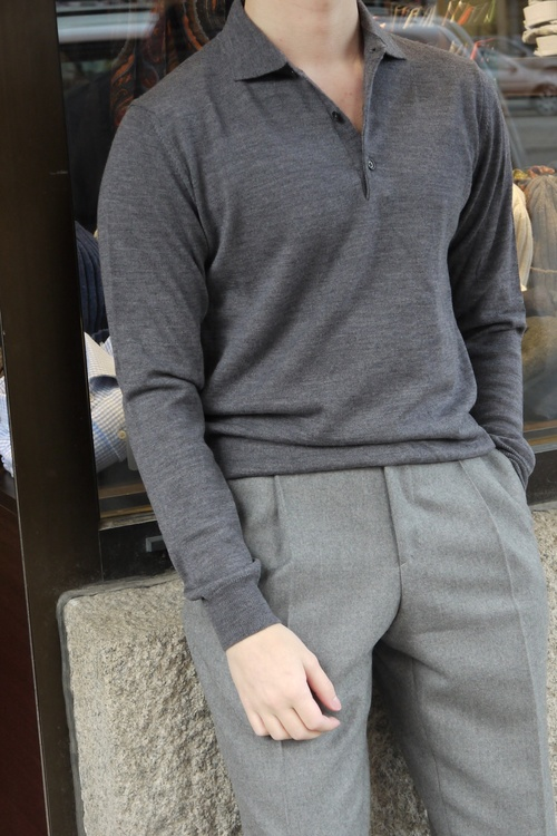 Polo Merino Pullover - Grey
