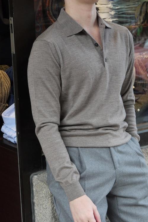 Polo Merino Pullover - Beige