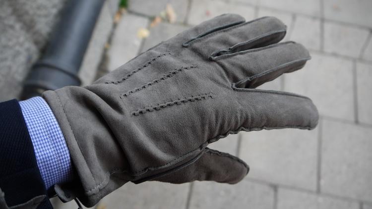 Suede Gloves - Grey