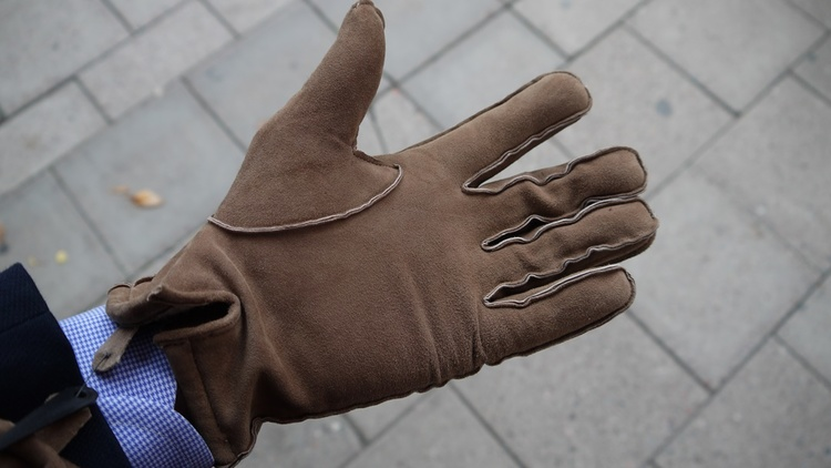Suede Gloves - Beige