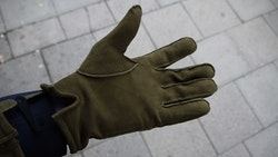 Suede Gloves - Olive Green