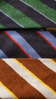 Regimental Shantung Grenadine Tie - Untipped - Navy Blue/Green