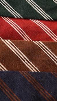 Regimental Shantung Tie - Untipped - Navy Blue/Brown
