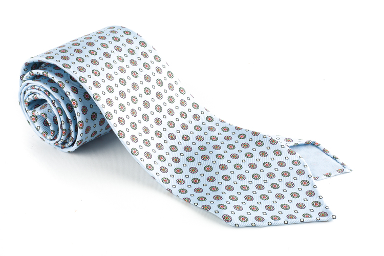 Floral Printed Silk Tie - Untipped - Light Blue/Green