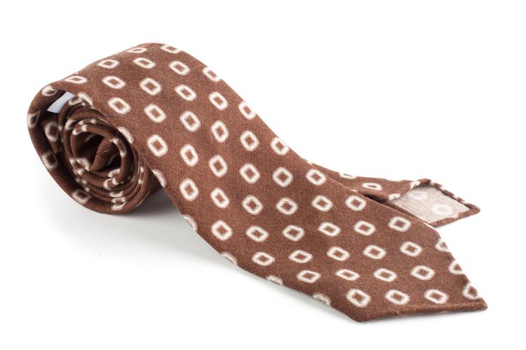 Medallion Printed Wool Tie - Untipped - Brown/Beige