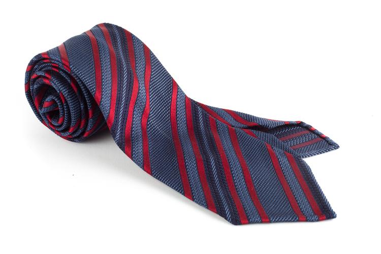 Regimental Silk Grenadine Tie - Untipped - Navy Blue/Red