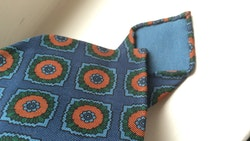 Medallion Ancient Madder Silk Tie - Untipped - Steel Blue