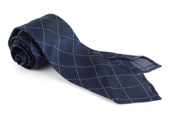 Check Silk Grenadine Tie - Untipped - Navy/White