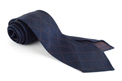 Check Silk Grenadine Tie - Untipped - Navy/Rust
