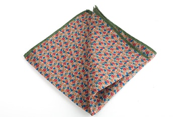 Floral Printed Silk Pocket Square - Green/Orange