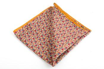 Floral Printed Silk Pocket Square - Mustard/Burgundy