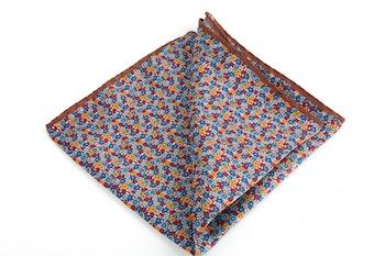 Floral Printed Silk Pocket Square - Brown/Blue