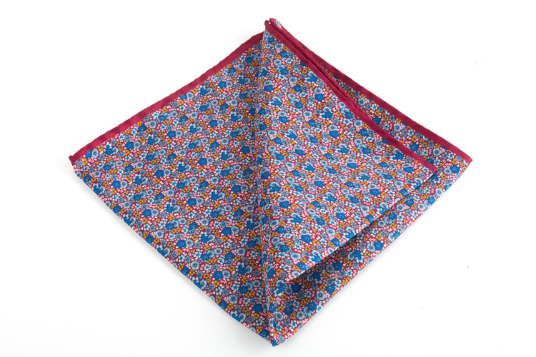 Floral Printed Silk Pocket Square - Burgundy/Light Blue